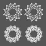 Abstracte heilige de meetkundephyllotaxis van het puntsymbool Geïsoleerd halftone symbool Tegenovergestelde spiralen vectorillust Stock Foto's