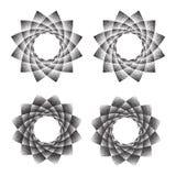 Abstracte heilige de meetkundephyllotaxis van het puntsymbool Geïsoleerd halftone symbool Tegenovergestelde spiralen vectorillust Stock Afbeeldingen