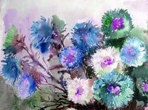 Abstracte heldere gekleurde decoratieve achtergrond Bloemen met de hand gemaakt patroon Mooi teder romantisch boeket van asterblo Royalty-vrije Stock Afbeelding