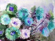 Abstracte heldere gekleurde decoratieve achtergrond Bloemen met de hand gemaakt patroon Mooi teder romantisch boeket van asterblo Stock Afbeelding