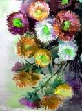 Abstracte heldere gekleurde decoratieve achtergrond Bloemen met de hand gemaakt patroon Mooi teder romantisch boeket van asterblo Stock Foto's