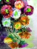 Abstracte heldere gekleurde decoratieve achtergrond Bloemen met de hand gemaakt patroon Mooi teder romantisch boeket van asterblo Royalty-vrije Stock Afbeeldingen