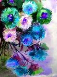 Abstracte heldere gekleurde decoratieve achtergrond Bloemen met de hand gemaakt patroon Mooi teder romantisch boeket van asterblo Stock Fotografie