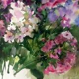 Abstracte heldere gekleurde decoratieve achtergrond Bloemen met de hand gemaakt patroon Mooi teder romantisch boeket van floxbloe Stock Foto