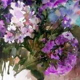 Abstracte heldere gekleurde decoratieve achtergrond Bloemen met de hand gemaakt patroon Mooi teder romantisch boeket van floxbloe Stock Afbeeldingen