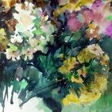 Abstracte heldere gekleurde decoratieve achtergrond Bloemen met de hand gemaakt patroon Mooi teder romantisch boeket van floxbloe Stock Fotografie