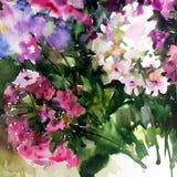 Abstracte heldere gekleurde decoratieve achtergrond Bloemen met de hand gemaakt patroon Mooi teder romantisch boeket van floxbloe Royalty-vrije Stock Fotografie