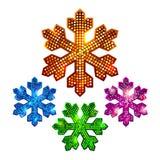 Abstracte heldere glanzende halftone sneeuwvlokken Stock Foto's