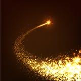 Abstracte Heldere Gouden Dalende Ster - Vallende ster met Fonkelende Stersleep Stock Afbeeldingen