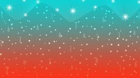 Abstracte Heldere Sterren, Lichten, Fonkelingen, Confettien en Linten op Rode en Cyaanachtergrond royalty-vrije illustratie