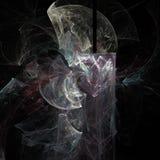 Abstracte heldere vlotte krommen op een donkere futuristische digitale kunstachtergrond stock illustratie