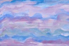 Abstracte hemeltextuur Artistiek ontwerp Blauwe kleuren Olie geschilderde achtergrond Modern kunstwerk van een kunstenaar Stock Afbeelding