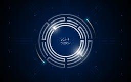 Abstracte het conceptenachtergrond van FI van sc.i van technologie van het cirkel toekomstige ontwerp stock illustratie