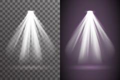 Abstracte het effect van de de gloed lichte heldere elektrische verlichting van de scèneschijnwerper vastgestelde transparant van stock illustratie