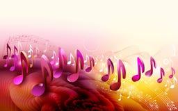 Abstracte het ontwerpachtergrond van de bladmuziek met 3d muzieknoten Stock Fotografie