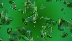 Abstracte het vliegen stukken in groene kleur stock video