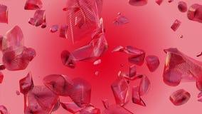 Abstracte het vliegen stukken in rode kleur stock videobeelden