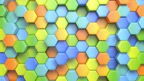 Abstracte hexagonale multicolored achtergrond, naadloze het van een lus voorzien 3d animatie, 4k zoek meer opties in mijn portefe stock illustratie