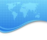 Abstracte hoogte - technologieachtergrond met aardekaart Stock Foto