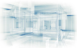 Abstracte hoogte - technologieachtergrond Witte binnenlandse 3d Stock Foto