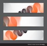 Abstracte horizontale banners met zwarte en oranje motieven Stock Afbeeldingen