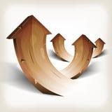 Abstracte Houten het Toenemen Pijlen Stock Afbeeldingen