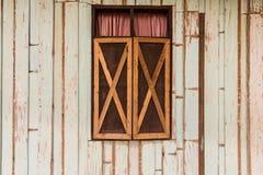 Abstracte houten muur en venstertextuurachtergrond Royalty-vrije Stock Afbeelding