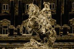 Abstracte Illustratie De gouden ruiter op een paard Royalty-vrije Stock Fotografie