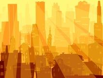 Abstracte illustratie grote stad en stralen van licht. Stock Fotografie