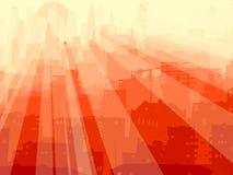 Abstracte illustratie grote stad en stralen van licht. Stock Afbeeldingen