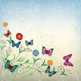 Abstracte illustratie met bloemen en vlinder Stock Foto