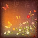 Abstracte illustratie met bloemen en vlinder Royalty-vrije Stock Afbeeldingen