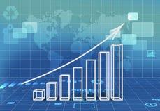 Abstracte illustratie met de groei van de grafiekenpijl Stock Foto