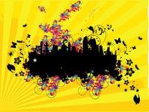 Abstracte illustratie met stad. Royalty-vrije Stock Afbeelding