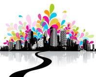 Abstracte illustratie met stad Stock Afbeeldingen