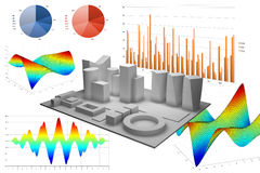 Abstracte illustratie met verschillende grafieken Stock Fotografie