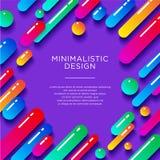 Abstracte Illustratie Minimalisticontwerp Multicolored glanzende vormen met schaduwen op een purpere achtergrond vector illustratie