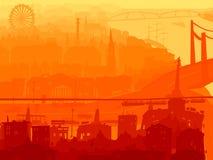 Abstracte illustratie van de stad van de binnenstad in zonsondergang. Stock Afbeelding