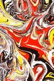 Abstracte illustratie van een combinatie rode, gele en zwarte kleuren op een wit gebaseerd, chaotisch patroon stock illustratie