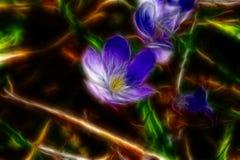 Abstracte illustratie van een fractal blauwe bloem Stock Afbeelding