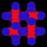 Abstracte illustratie van gekleurde grafische elementen op zwarte backg Stock Fotografie