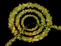 Abstracte illustratie van gouden-gele concentrische cirkels met een lijn aan het centrum stock illustratie
