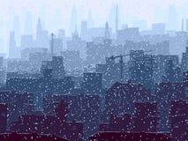 Abstracte illustratie van grote sneeuwstad. Stock Afbeelding