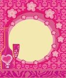 Abstracte illustratie van wijnfles en wijnglas Stock Afbeelding
