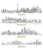Abstracte illustraties van Canadese stedelijke stadshorizonnen in grijze schalen op witte achtergrond Royalty-vrije Stock Fotografie