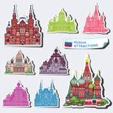 Abstracte illustraties van de aantrekkelijkheden van Rusland stock fotografie