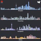 Abstracte illustraties van de horizonnen van Shanghai, van Hong Kong, van Guangzhou en van Peking bij nacht met kaart en vlag van royalty-vrije illustratie