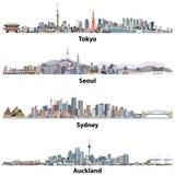 Abstracte illustraties van de horizonnen van Tokyo, van Seoel, van Sydney en van Auckland Stock Afbeeldingen