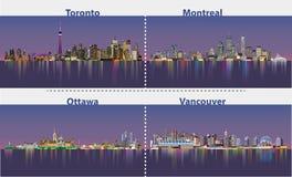 Abstracte illustraties van stedelijke Canadese stadshorizonnen bij nacht Royalty-vrije Stock Afbeelding