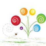 Abstracte illustratieve bloemen Stock Foto